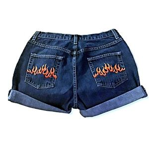High Waisted Flame Embroidered Denim Shorts